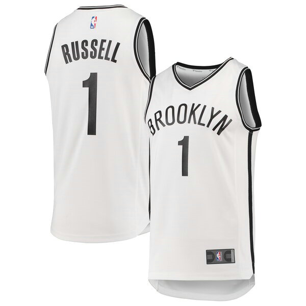 Maglia D'Angelo Russell No 1 Brooklyn Nets 2019 Uomo Bianco