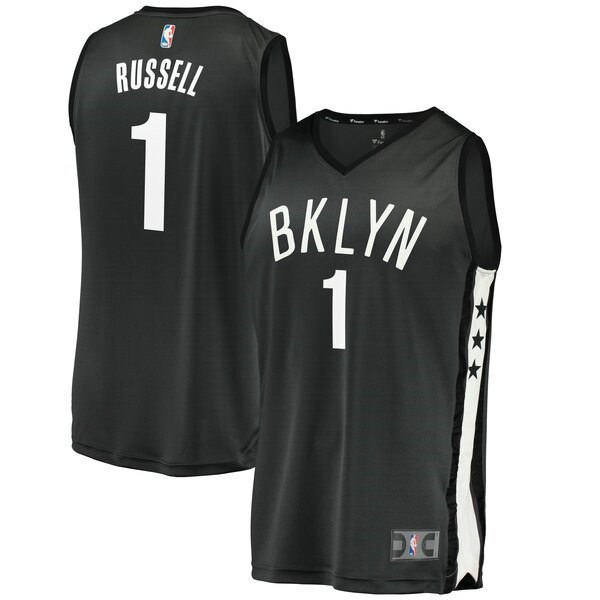 Maglia D'Angelo Russell No 1 Brooklyn Nets 2019 Uomo Nero