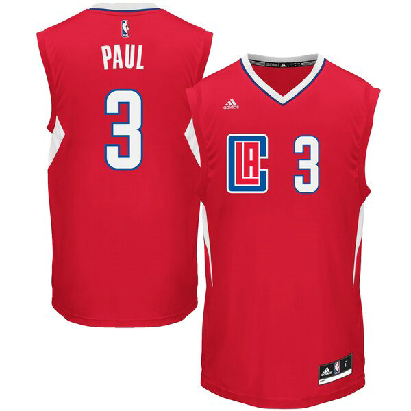 Maglia Chris Paul No 3 Los Angeles Clippers 2015 adidas Uomo Rosso