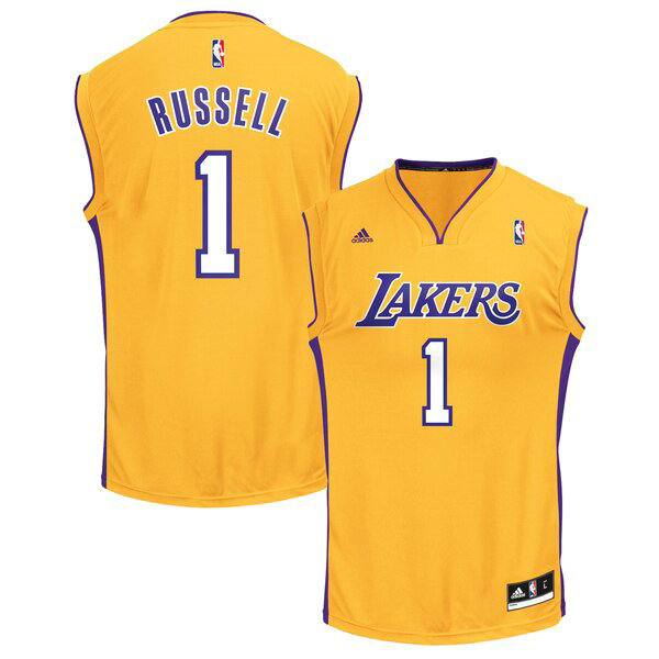 Maglia D'Angelo Russell No 1 Los Angeles Lakers adidas Replica Uomo Giallo