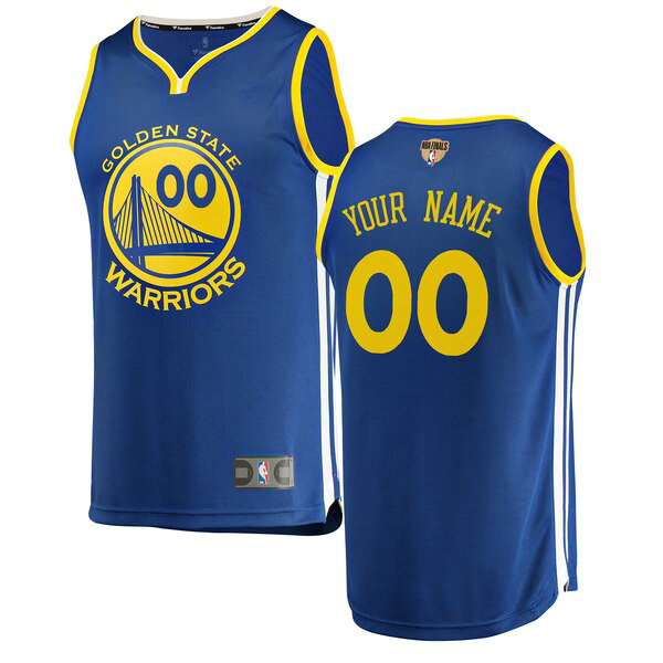 Maglia Custom No 0 Golden State Warriors 2019 Icon Edition Uomo Blu