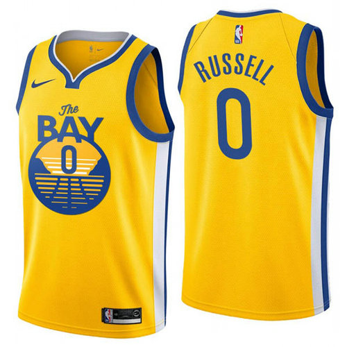 Maglia D'Angelo Russell No 0 Golden State Warriors Città 2019 Uomo Giallo