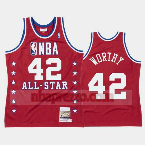 Maglia James Worthy No 42 Los Angeles Lakers All Star 1988 Uomo Rosso