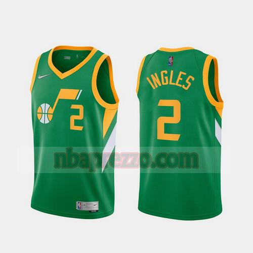Maglia Joe Ingles No 2 Utah Jazz 2020-21 Earned Edition Uomo verde