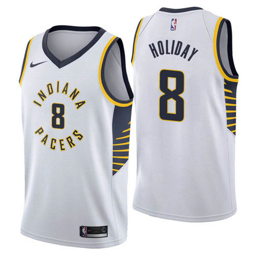 Maglia Justin Holiday No 8 Indiana Pacers 2018-19 Uomo Bianca