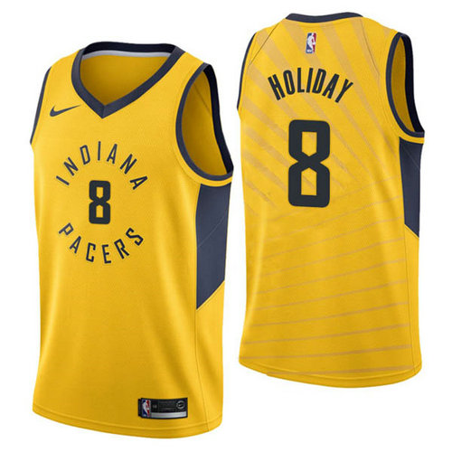 Maglia Justin Holiday No 8 Indiana Pacers 2018-19 Uomo Giallo