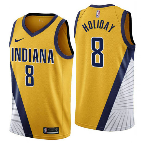 Maglia Justin Holiday No 8 Indiana Pacers 2019-2020 Uomo Giallo