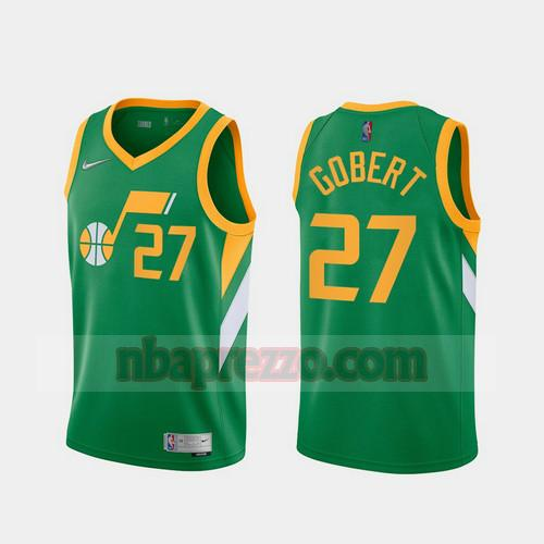 Maglia Rudy Gobert No 27 Utah Jazz 2020-21 Earned Edition Uomo verde