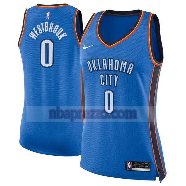 Maglia Russell Westbrook No 0 Oklahoma City Thunder Nike icon edition Donna Blu