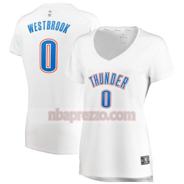 Maglia Russell Westbrook No 0 Oklahoma City Thunder association edition Donna Bianco