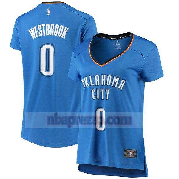 Maglia Russell Westbrook No 0 Oklahoma City Thunder iconico Donna Blu