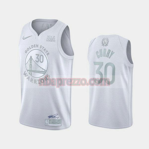 Maglia Stephen Curry No 30 Golden State Warriors MVP Uomo bianca