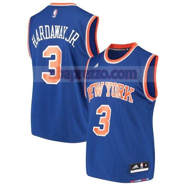 Maglia Tim Hardaway No 3 New York Knicks Strada Replica Uomo Blu