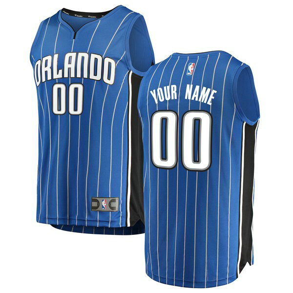 Maglia Custom No 0 Orlando Magic Icon Edition Uomo Blu