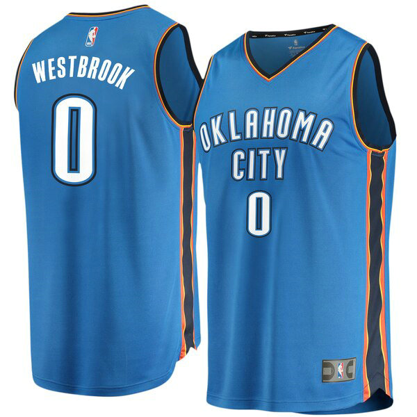 Maglia Russell Westbrook No 0 Oklahoma City Thunder Icon Edition Uomo Blu