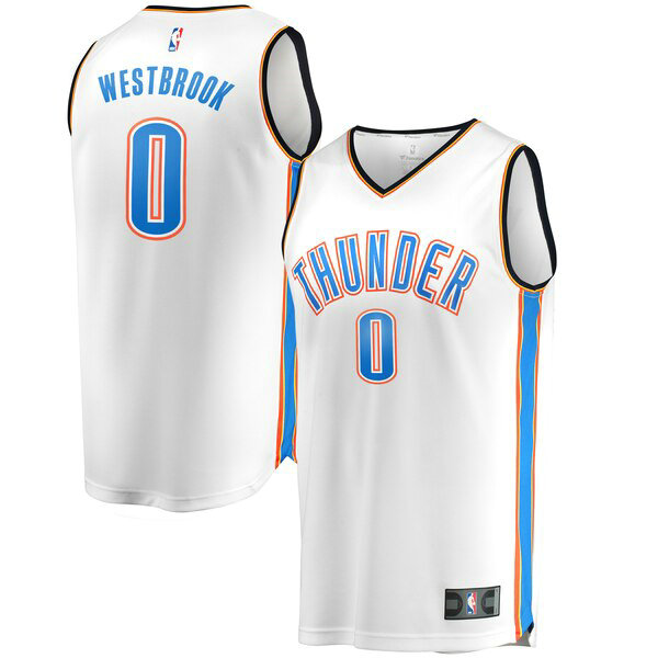 Maglia Russell Westbrook No 0 Oklahoma City Thunder Association Edition Uomo Bianco